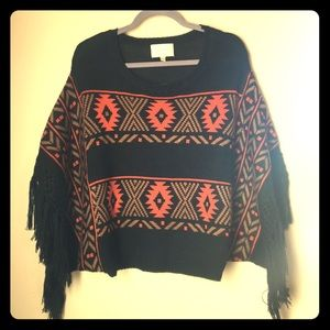 Skies Are Blue native wide sleeve poncho sweater